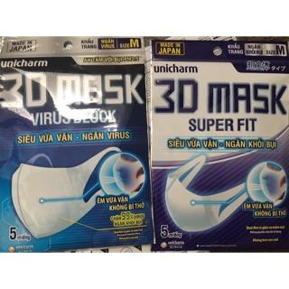 Khẩu trang kháng khẩu 3D và khói bụi Nhật 1 bich 5 cái