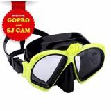 Mặt nạ lặn gắn được Gopro SJCAM mắt KÍNH CƯỜNG LỰC (Gopro Vàng) POPO Collection