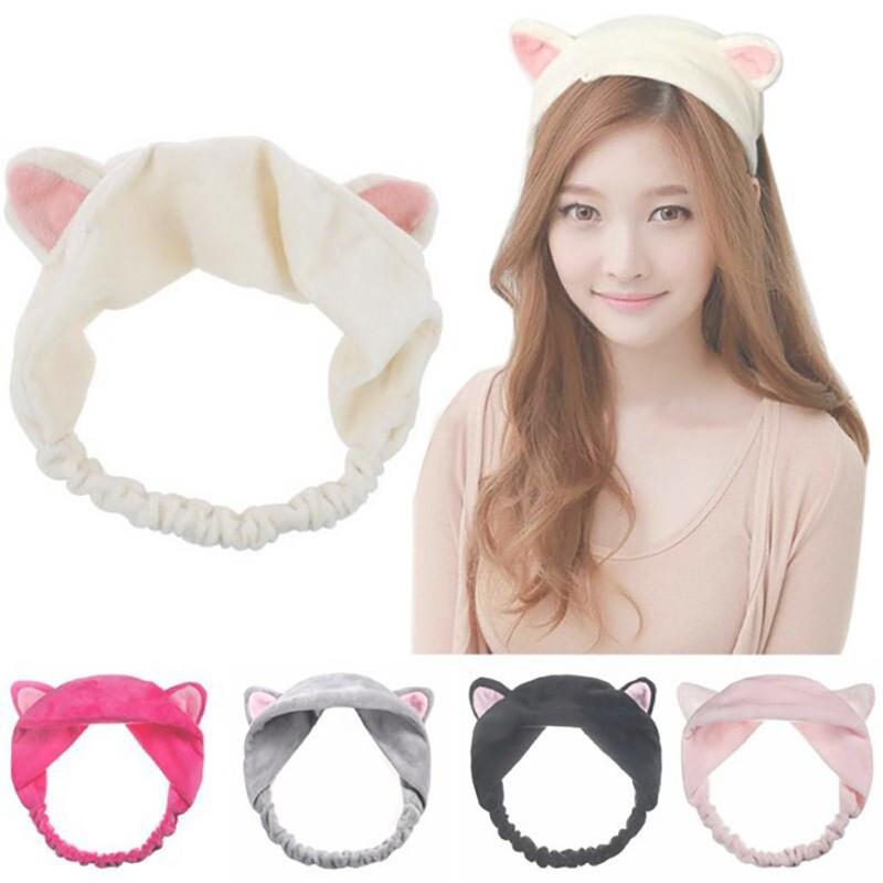Băng đô tai mèo đeo khi tắm và rửa mặt dễ thương cho nữ