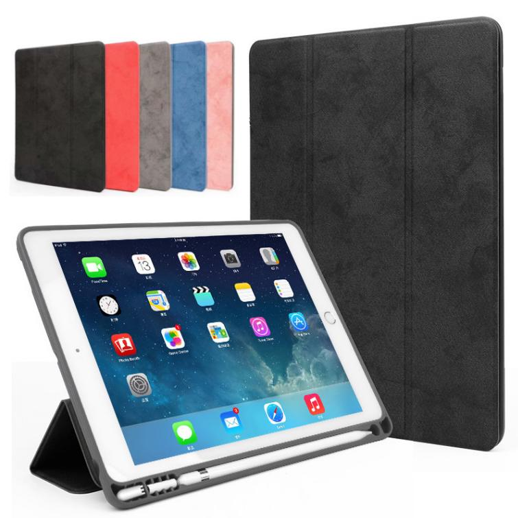 For Apple iPad air 3 10.5 2019 mini 5 2019 mini 1 2 3 4 With Pencil Slot Holder soft Silicone Cover Leather Smart Case