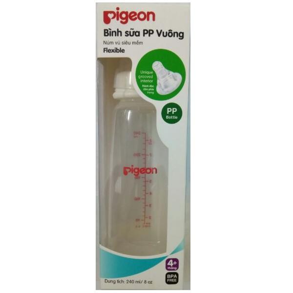 [MKBMART07 hoàn 10% xu] Bình sữa Pigeon PP vuông nhựa cao cấp 240ml