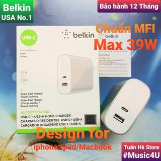 [Mã ELMS5 giảm 7% đơn 300k] Củ sạc nhanh Belkin PD 39W 27W Type C cho Iphone 11, Iphone 12, Ipad, Macbook, MFI [Music4U]