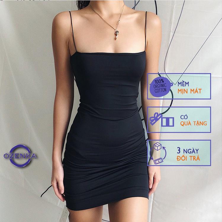 Mặc gì đẹp: Sang chảnh với Váy 2 dây ôm body sợi bún sexy dự tiệc chất thun gân OZENKA ,  đầm ngắn gợi cảm đẹp mát màu đen trắng size dưới 52 kg