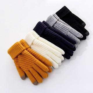 Găng tay len chống nắng / chống lạnh dày màu trơn thiết kế 2 đầu ngón tay cảm ứng