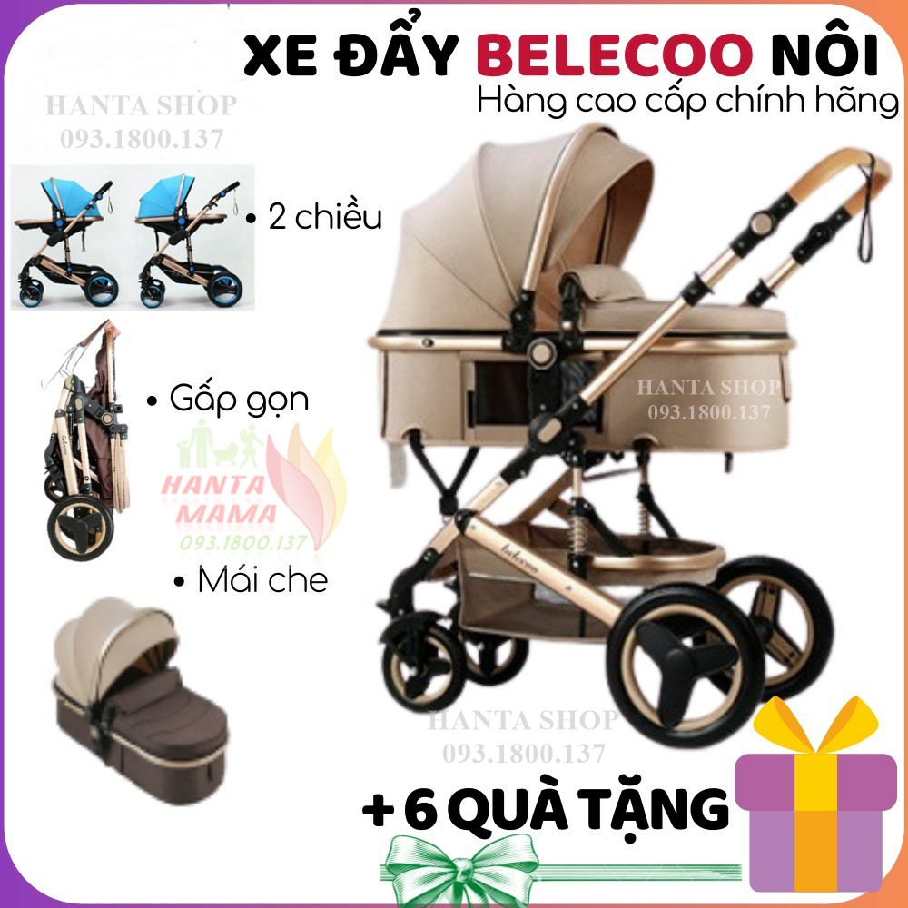 Free Ship 🎁🎁🎁 Xe đẩy cho bé Belecoo A10, xe nôi gấp gọn 2 chiều có mái che cho bé từ sơ sinh-3 tuổi chịu lực 25kg