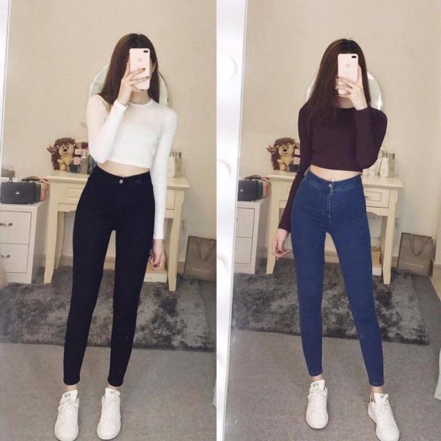 quần jean cạp cao co dãn tôn dáng