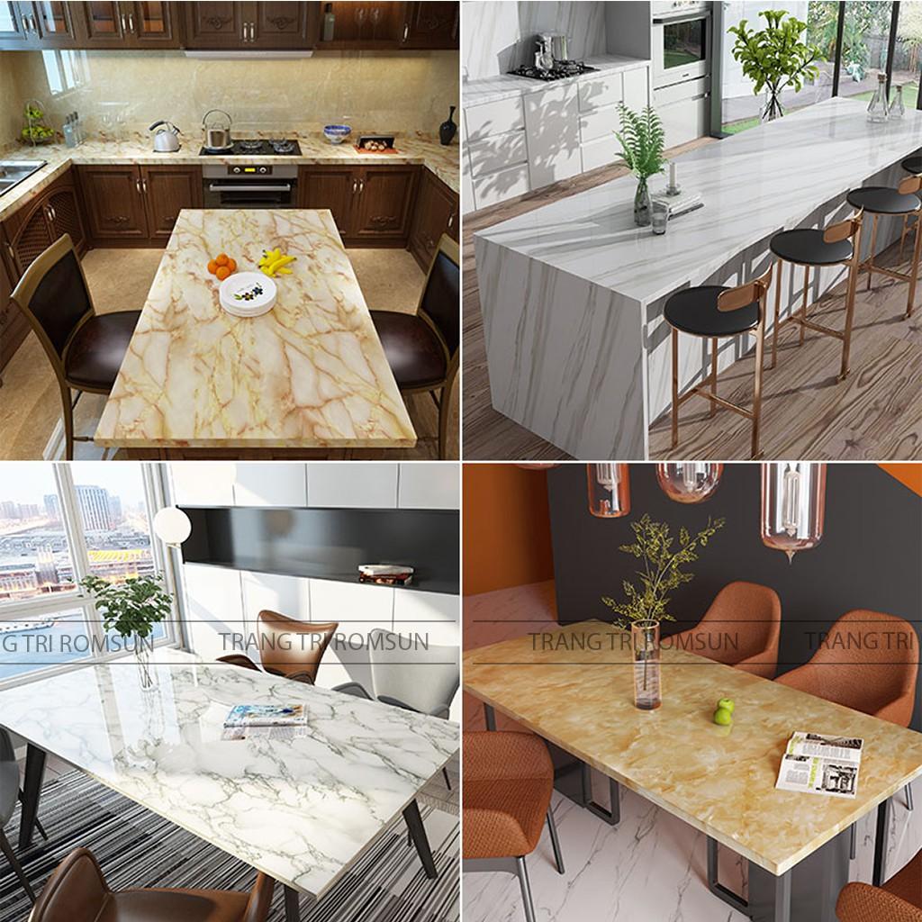 Giấy dán tường bếp giả vân đá cẩm thạch 3D chịu nhiệt, Decal dán tủ,bàn,ghế, kệ tường bếp phòng ăn chống bám dầu mỡ
