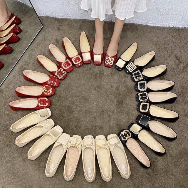 Giày hài búp bê hoạ tiết