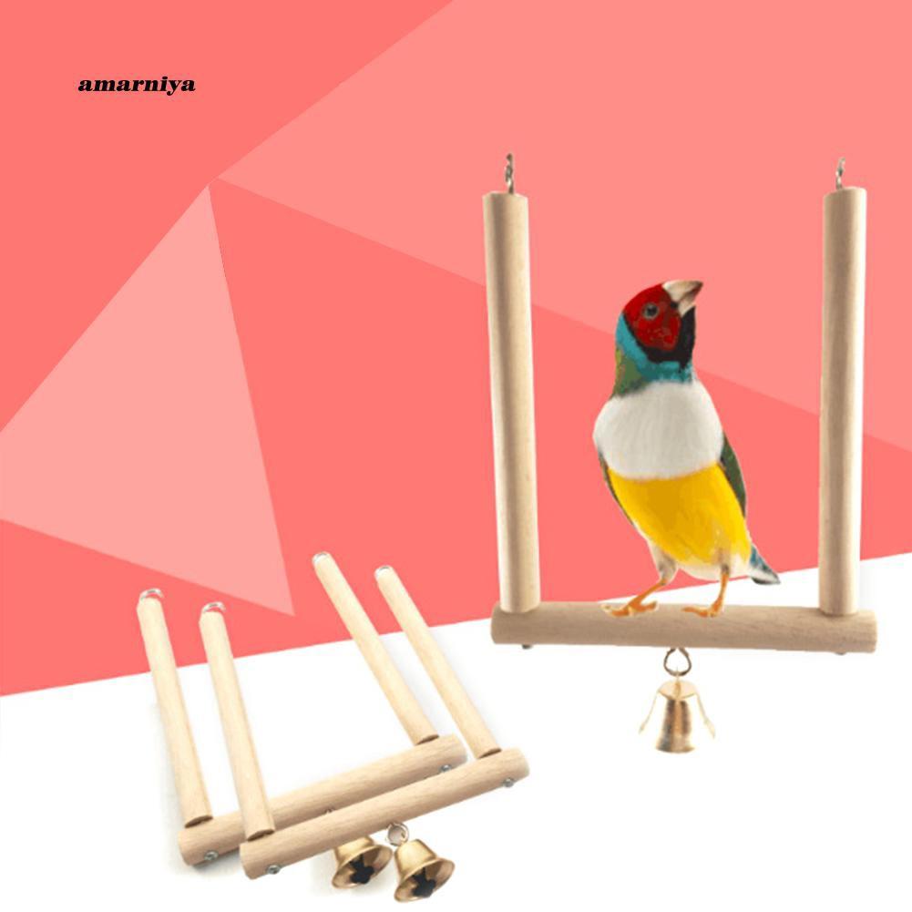 AMA♥Bell Pet Parrot Swing Bird Cage Toy Wooden Suspension Bridge Hanging Decor