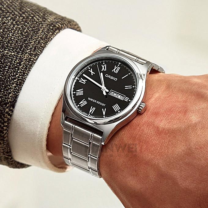 Đồng hồ nam CASIO MTP-V006D-1BUDF - Dây kim loại - Số la mã - Mặt màu đen