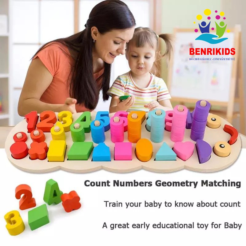 Giáo Cụ Montessori Bảng Con Sâu Ghép Số Học Đếm Và Hình Khối Bằng Gỗ