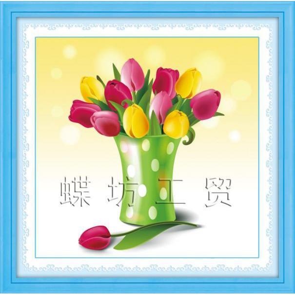 Tranh thêu chữ thập 3D Hoa Tulip Thanh Lịch