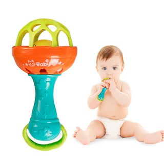 Multifunctional Baby Soft Rubber Teether Rattle Stick