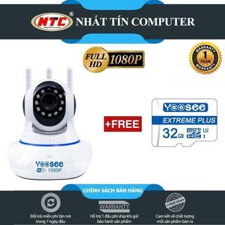 Camera IP Wifi Yoosee 3 Râu 2.0M FullHD 1080P 10 đèn hồng ngoại đàm thoại 2 chiều (Trắng) + Kèm thẻ Yoosee/Vitacard 32GB