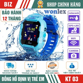 Đồng hồ định vị trẻ em WONLEX KT03 - CÓ CAMERA - CHỐNG NƯỚC IP67 - HÀNG CHÍNH HÃNG !!!