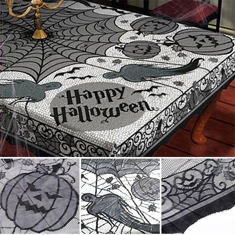 Stylish Black Spider Web Lace Halloween Table Cloth Party Decor Gothic Cob Table