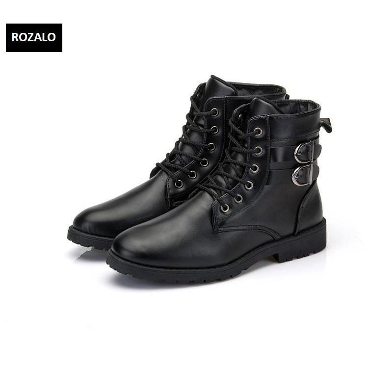 Giày boot nam cổ cao đính khuy cài kiểu quân đội Rozalo RM5281B -Đen