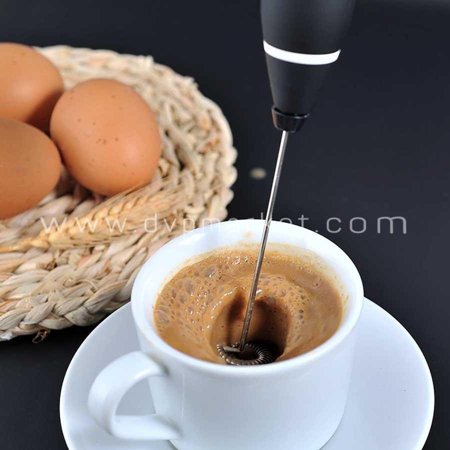 Máy tạo bọt sữa sạc USB 2 loại đầu khuấy cafe và đánh trứng