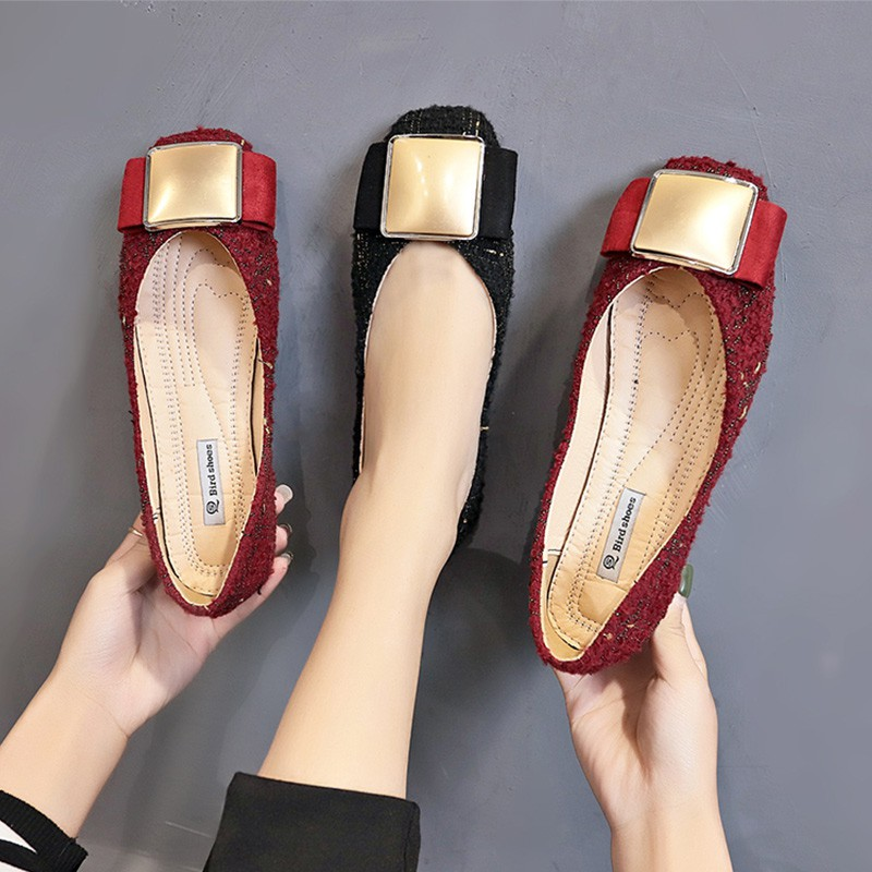 Single shoes female 2019 new wild square head shallow mouth buckle flat work shoes a pedal lazy peas shoes