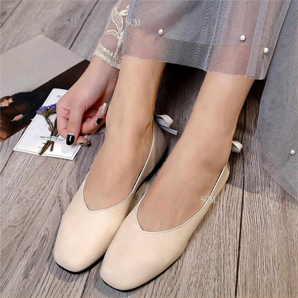 SALE - Giày búp bê nơ sau gót