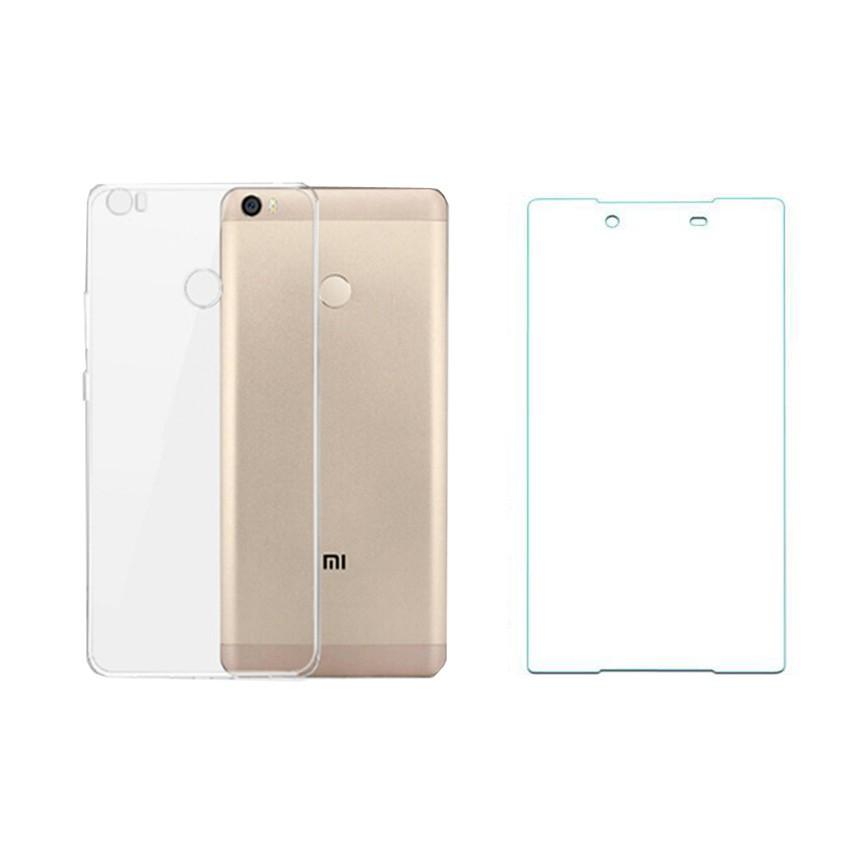 Bộ ốp lưng Silicon Xiaomi Mi Max (Trắng) + Kính cường lực 2.