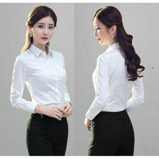 Áo sơ mi trắng công sở nữ tay dài,form ôm chuẩn,mặc cực tôn dáng, sang trọng vải kate Ý bao đẹp [ĐƯỢC ĐỔI TRẢ THOẢI MÁI]