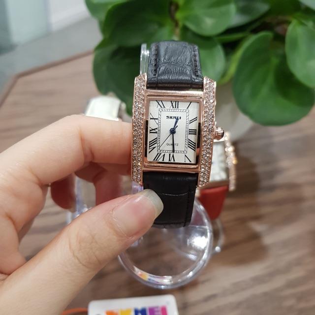 Đồng hồ nữ dây da SKMEI quyến rũ đồng hồ nữ mặt vuông đính đá dây da chính hãng chống nước Tony Watch 68