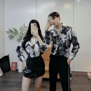 Áo sơ mi cặp chất lụa phong cách Hàn quốc