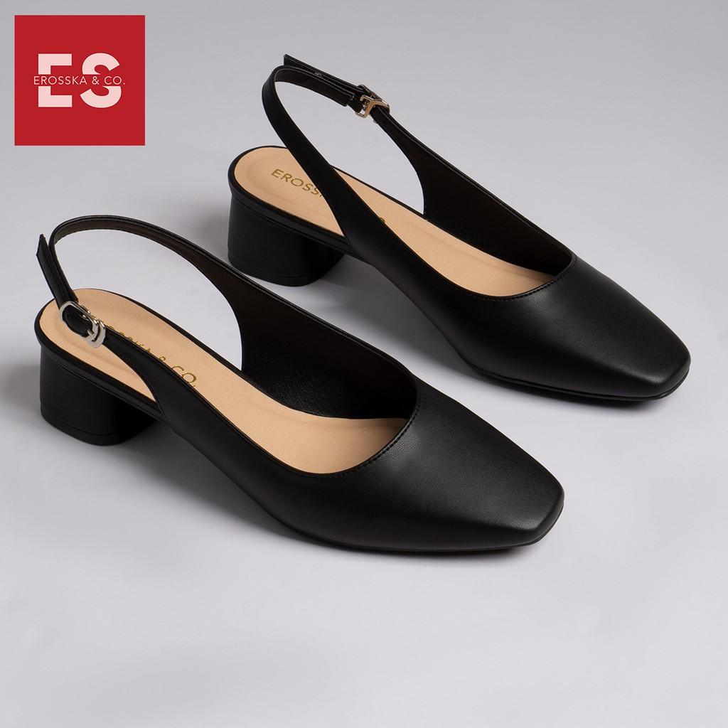 Giày cao gót slingback Erosska mũi vuông kiểu dáng basic gót vuông vững chắc màu đen _ EL013