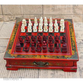 Vintage Wooden Chinese Chess Board Table Games Set Collectibles