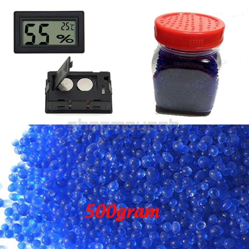Combo 500g hạt hút ẩm xanh kem ẩm kế điện tử và hộp đựng hạt
