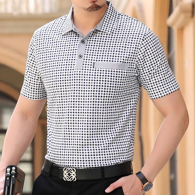 áo thun tay ngắn♝✖℡[Có túi thật] mùa hè cho nam giới trung niên và cao tuổi áo ngắn tay cỡ lớn phông bố già l