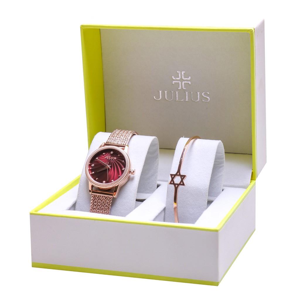 Combo Đồng hồ nữ Julius Hàn Quốc ja-1219 kèm lắc tay Julius thời trang