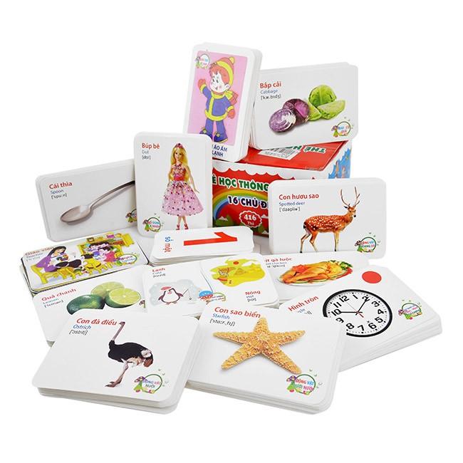 Bộ thẻ học song ngữ cho bé gồm 16 chủ đề đa dạng (416 thẻ) mã số 450