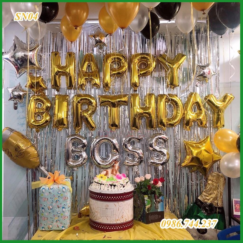 Set trang trí sinh nhật 2 rèm kim tuyến, bộ bóng chữ happy birthday, 50 bóng nhũ - Mã SN04