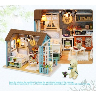 Miniature Wooden Doll House Studio Kit with LED Light Furniture DIY