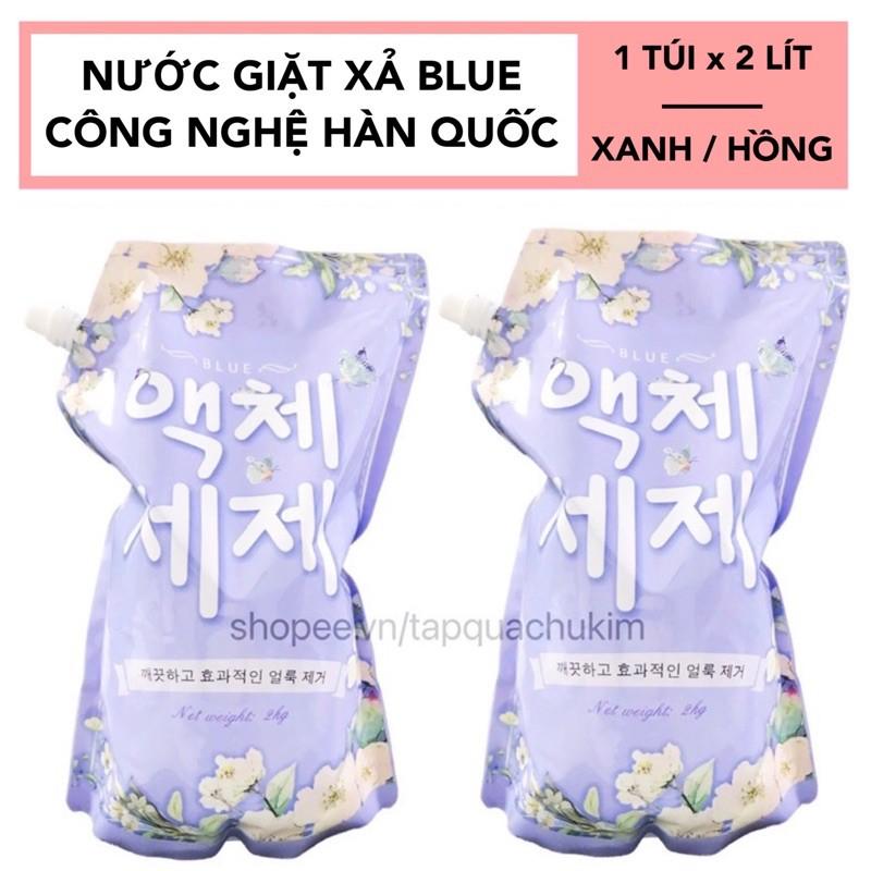 NƯỚC GIẶT BLUE HÀN QUỐC TÚI 2KG THƠM NHƯ HOA - xanh / hồng