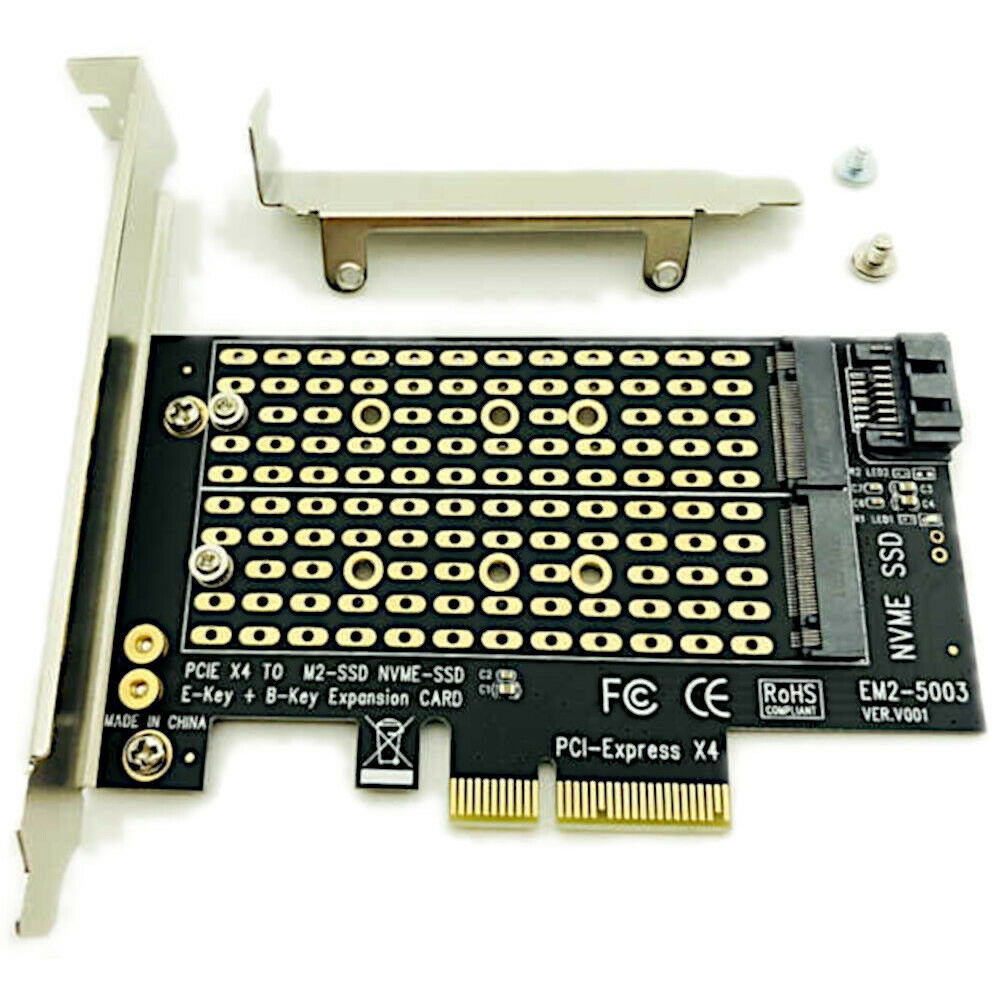 M.2 NGFF To Desktop PCIe Dual SSD PCI Express SATA For Computer NVME X4 X8 X16 Expansion Card
