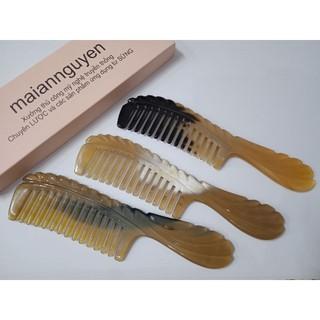 lược sừng chống rụng tóc _ mẫu lớn răng thưa cho tóc xoăn