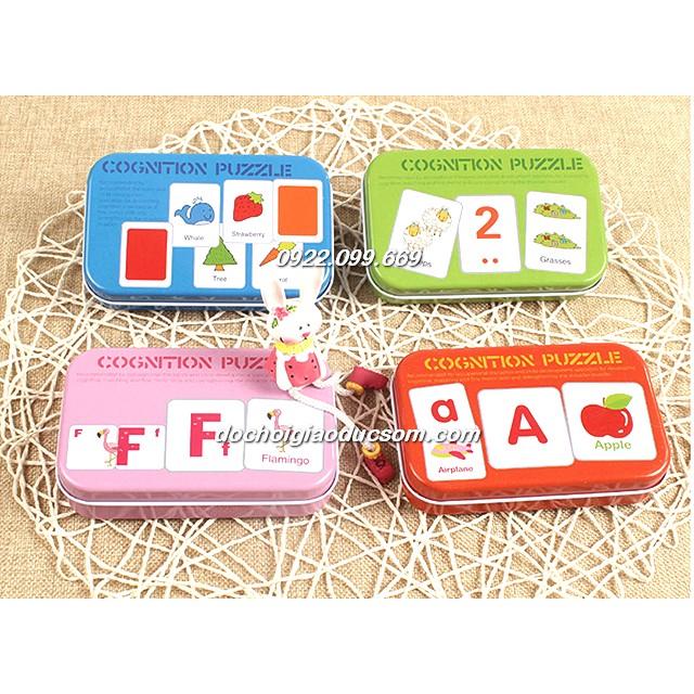 COMBO 4 Hộp thẻ chơi matching chữ/số /mầu sắc