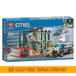Đồ chơi trẻ em lego cities máy bay trực thăng và xe tải bắt tội phạm (605 chi tiết)