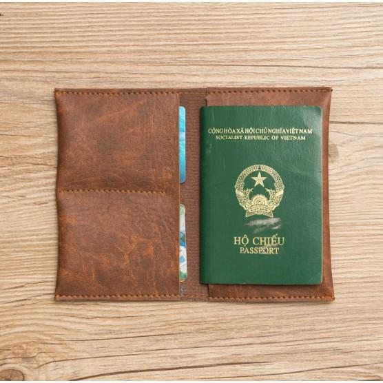 Ví đựng Hộ chiếu kiêm đựng tiền Hanama cao cấp C10 Nâu vàng bò