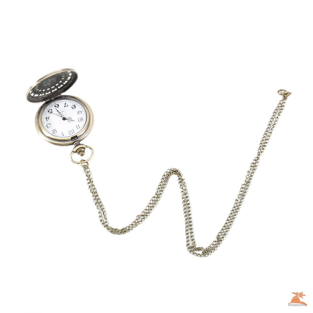 #Đồng hồ bỏ túi# Fashion Five-pointed Star Compass Dial Quartz Pocket Watch Analog Pendant Necklace Chain Clock Gifts