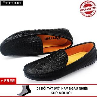 Giày Lười Nam Da Bò Thật Nguyên Tấm Dập Vân Cá Sấu Sang Trọng PETTINO PL09 tặng tất thumbnail