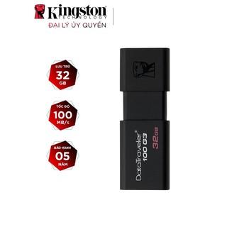 [Mã ELFLASH5 giảm 20K đơn 50K] USB Kingston DT100G3 32GB nắp trượt tốc độ upto 100MB/s