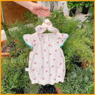 Quần Áo Trẻ Em, Body Cộc Tay Bé Gái Quỳnh Boutique Set bộ Cherry viền xanh cho bé gái