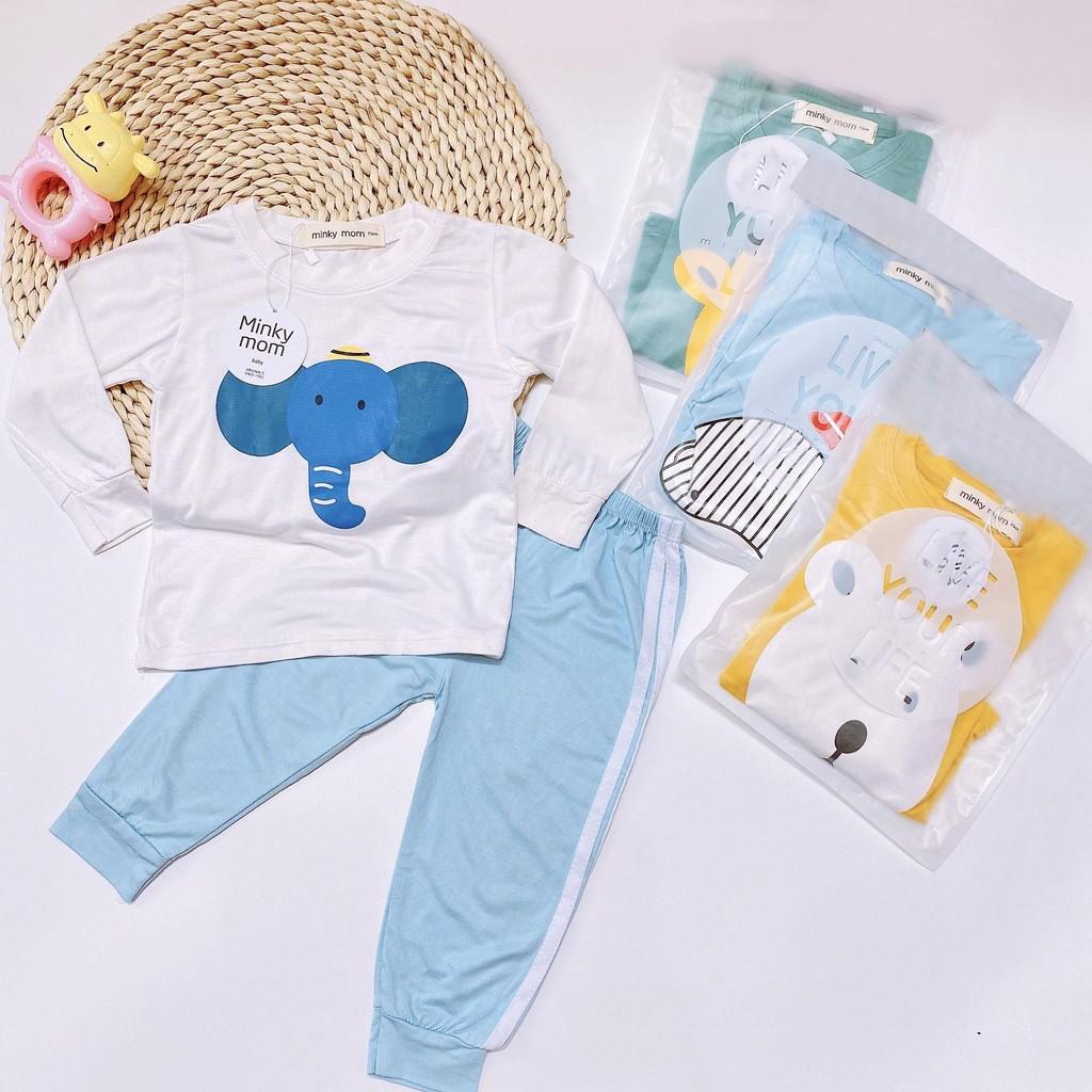 Bộ quần áo trẻ em thun lạnh cao cấp cho bé trai và bé gái từ 8kg đến 18kg