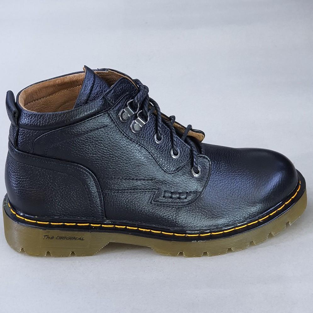 Giày boots nam cổ cao da bò thật đế đốc tờ cao cấp DT2022 Giày Hà Nam (Màu Đen)