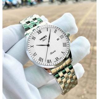 {xả kho} Đồng hồ nam SKMEI dây bạc mặt trắng tặng kèm vòng tì hưu
