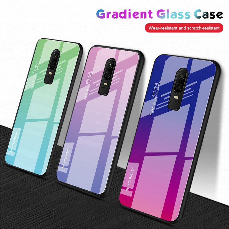 Gradient Tempered Glass Case Oneplus 6T 6 Case Luxury Soft Frame Back Cover OnePlus 6T Glass shockproof Shell